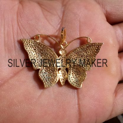 Women's Butterfly Pendant ,925 Sterling Silver Pave Diamond Designer Big Butterfly Pendant Jewelry