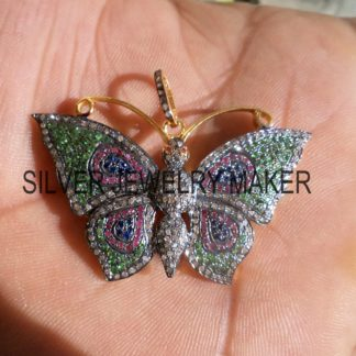 Women's Butterfly Pendant ,925 Sterling Silver Pave Diamond Designer Big Butterfly Pendant Jewelry