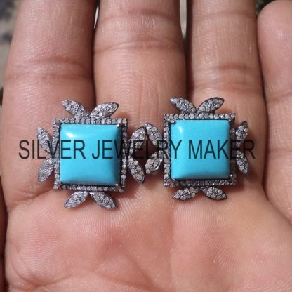 925 Sterling Silver Pave Diamond Designer Stud Earrings Jewelry, Women's Earrings
