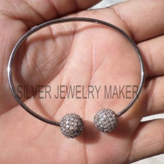 925 Sterling Silver 2 ct Pave Diamond Ball Cuff Bracelet Jewelry, Ball bracelet