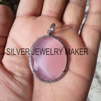 Natural Pave Diamond Handmade 925 Sterling Silver Pink Gemstone Pendant Jewelry