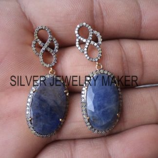 925 Sterling Silver Pave Diamond Sapphire Dangle Earring Jewelry, Sapphire Earrings