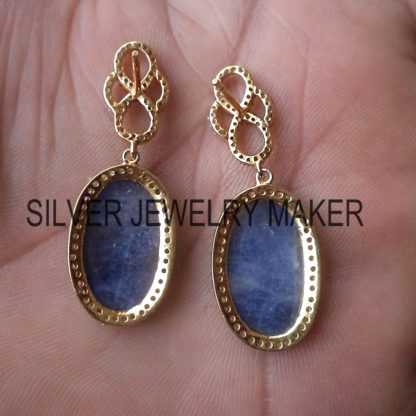 925 Sterling Silver Pave Diamond Sapphire Dangle Earring Jewelry, Sapphire Earrings