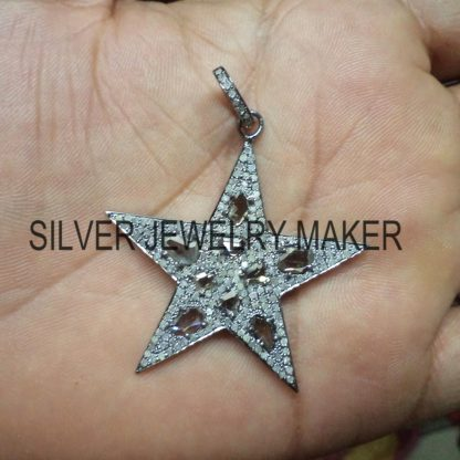 Sterling Silver Pave Diamond Designer Star Cut Pendant Jewelry,Star Pendant