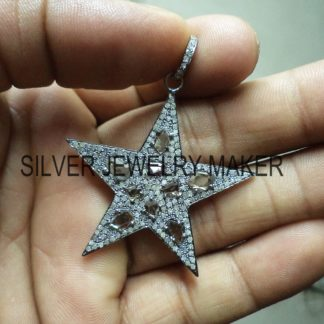 Sterling Silver Pave Diamond Designer Star Cut Pendant Jewelry,Star Pendant