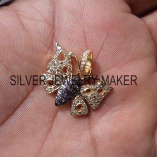 925 Sterling Silver Pave Black Diamond Butterfly Designer Pendant,Butterfly Pendant