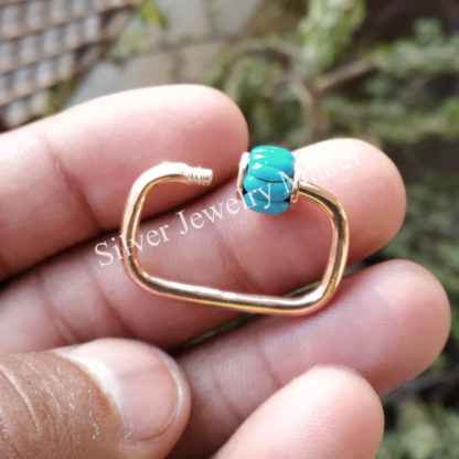 30mm Best Selling Rose Gold Plating Solid Sterling Silver Turquoise Carabiner Lock, Handmade Carabiner Lock Jewelry