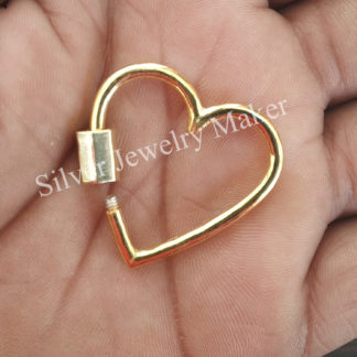 925 Sterling Silver Heart Shape Carabiner Lobster Lock Plain Silver Heart Carabiner Necklace Bracelet Lock Jewelry