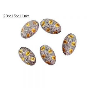Natural Pave Diamond Yellow Sapphire Spacer Bead Finding Sterling Silver Jewelry