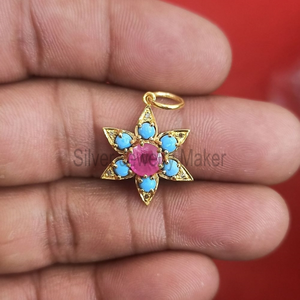 Natural Pave Diamond Turquoise Rose Gold Plating Star Shape Charms Pendant Jewelry, Ruby Star Pendant, Turquoise Pendant