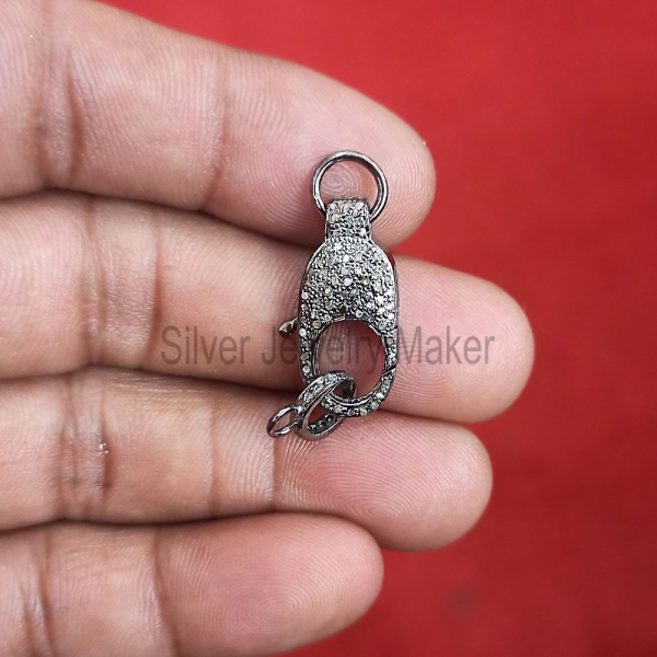 Pave Diamond Clasp Lock Connector Finding .925 Sterling Silver Jewelry, Sterling Silver Diamond Lobster Clasp Lock