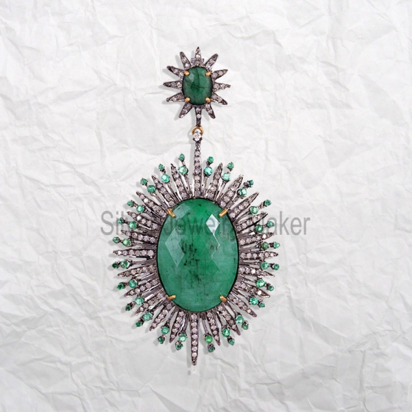 christmas sale 925 Sterling Silver Pave Diamond Emerald Gemstone Pendant, Pave Diamond Emerald Women's Gorgeous Pendant For Sale