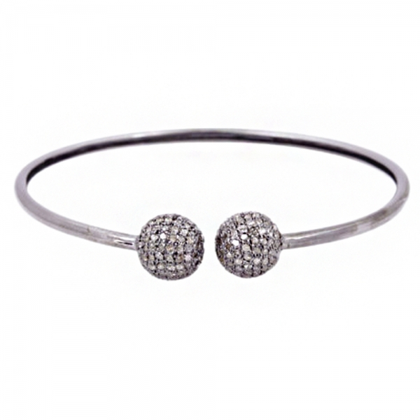 2.85ct Natural Pave Diamond .925 Sterling Silver Bangle Jewelry