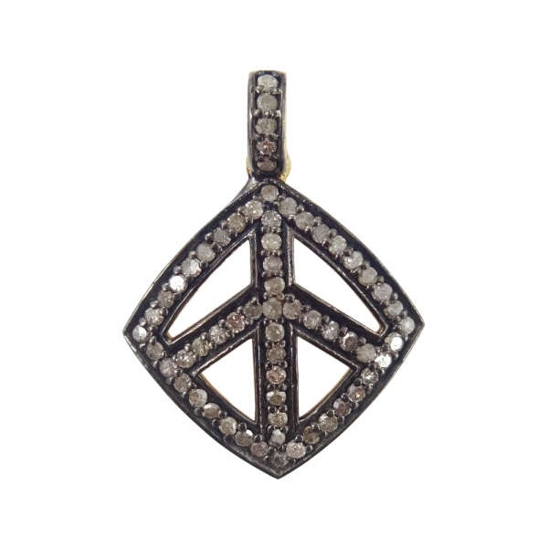 925 Sterling Silver Pave Diamond Peace sign charms Pendant Necklace, Silver Diamond Peace sign charms