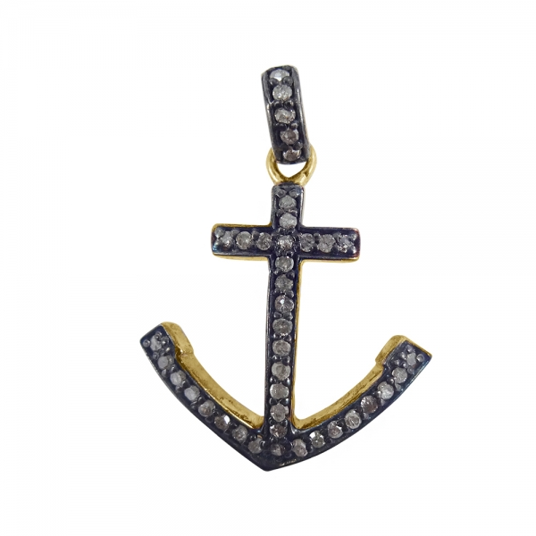 925 Sterling Silver Pave Diamond Anchor sign charms Pendant Necklace, Silver Diamond Anchor sign charms Pendant