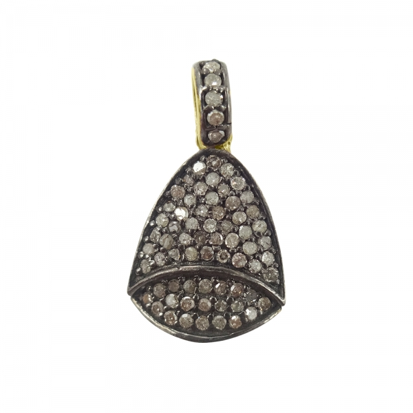 925 Sterling Silver Pave Diamond Bell Charms Pendant, Diamond Bell Charms Jewelry