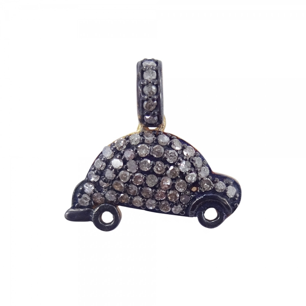 925 Sterling Silver Pave Diamond Car sign charms Pendant Necklace, Silver Diamond Car sign charms Pendant